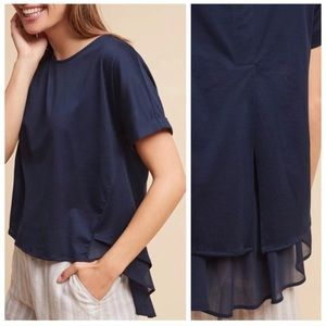 Anthropologie Chiffon Swing Tee Top by Eri + Ali